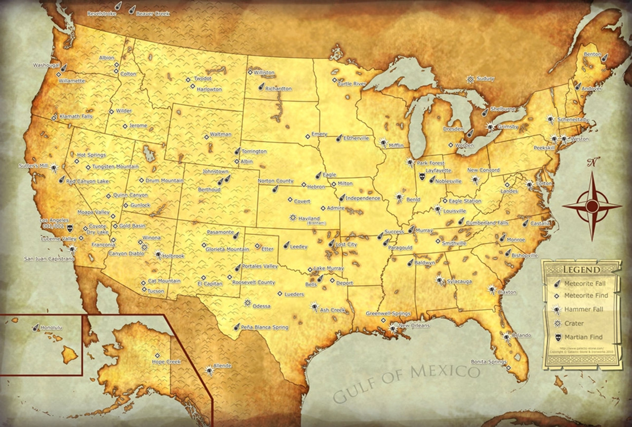 Meteorites of the United States Map, Large Canvas, Suitable for
