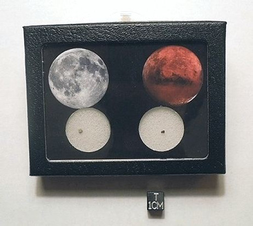 Moon and Mars Rocks Display, Meteorite Fragments of Two Worlds