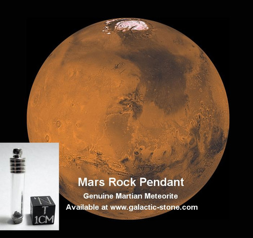 Mars Rock Pendant, Glass Vial with Genuine Martian Meteorite
