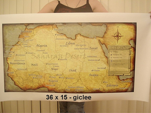 Meteorite Map, Saharan Desert NWA Map, Suitable for Framing