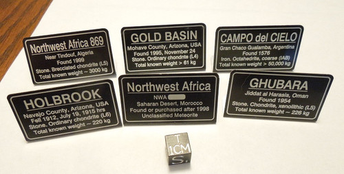 Meteorite Labels Set of Six, Deluxe Metal Display Labels