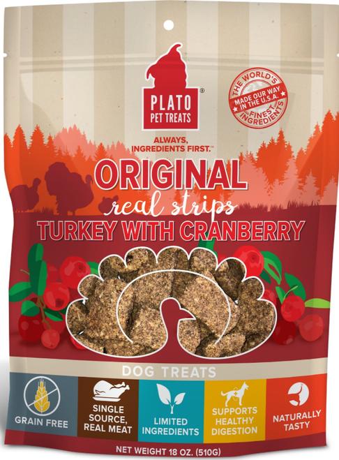 Plato Real Strips Turkey With Cranberry 18 oz EOS