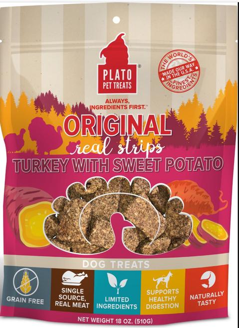 Plato Real Strips Turkey With Sweet Potato 18 oz EOS