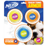 NERF DOG Twin Armour Ball Set - 3 Pack Yellow/Pink-Orange/Blue & Blue/Green