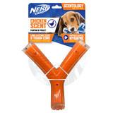 NERF DOG Scentology Large Wishbone, Chicken Scent, Clear/Orange 21cm