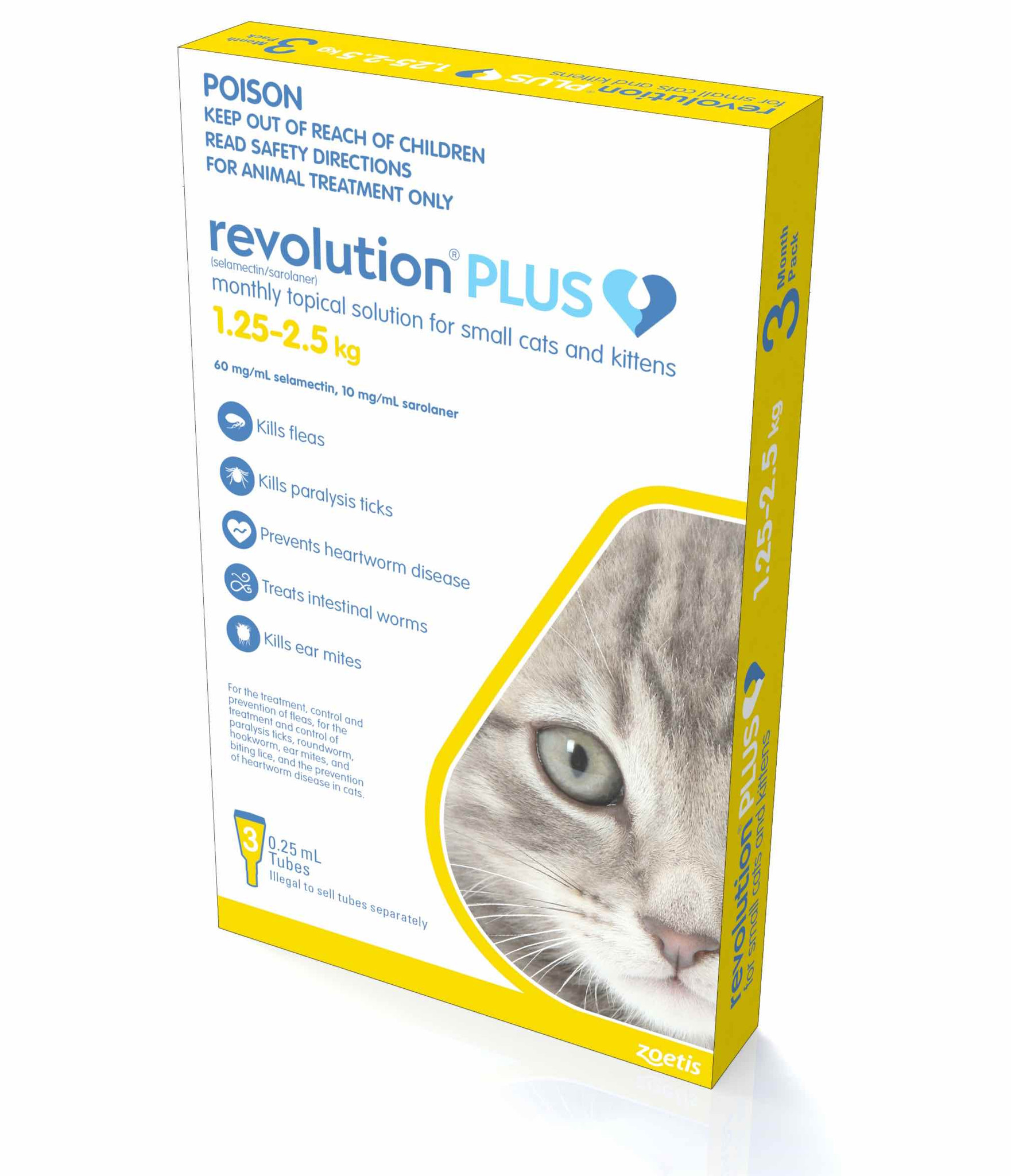 Revolution Plus For Kittens And Small Cats 1 25 2 5kg Gold 3 Doses Pacific Pet Supplies Australia