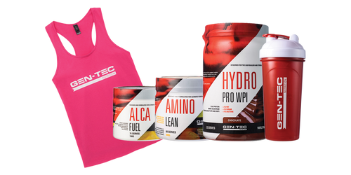 1 x ALCA Fuel  1 x AMINO Lean 1 x Hydro Pro WPI 800g 1 x Shaker FOC 1 x Ladies Singlet or t-shirt FOC