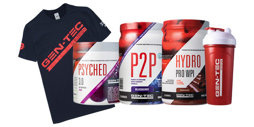 1 x PSYCHED 3.0 1 x P2P 1 x Hydro Pro WPI 800g 1 x Shaker FOC 1 x T-shirt FOC