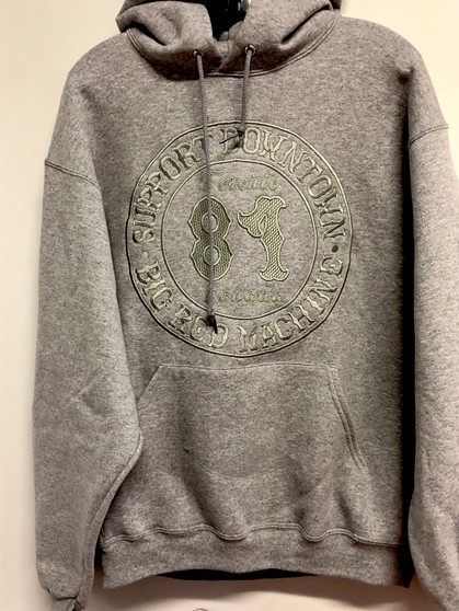 GREY EMBROIDERED SUPPORT HOODIE