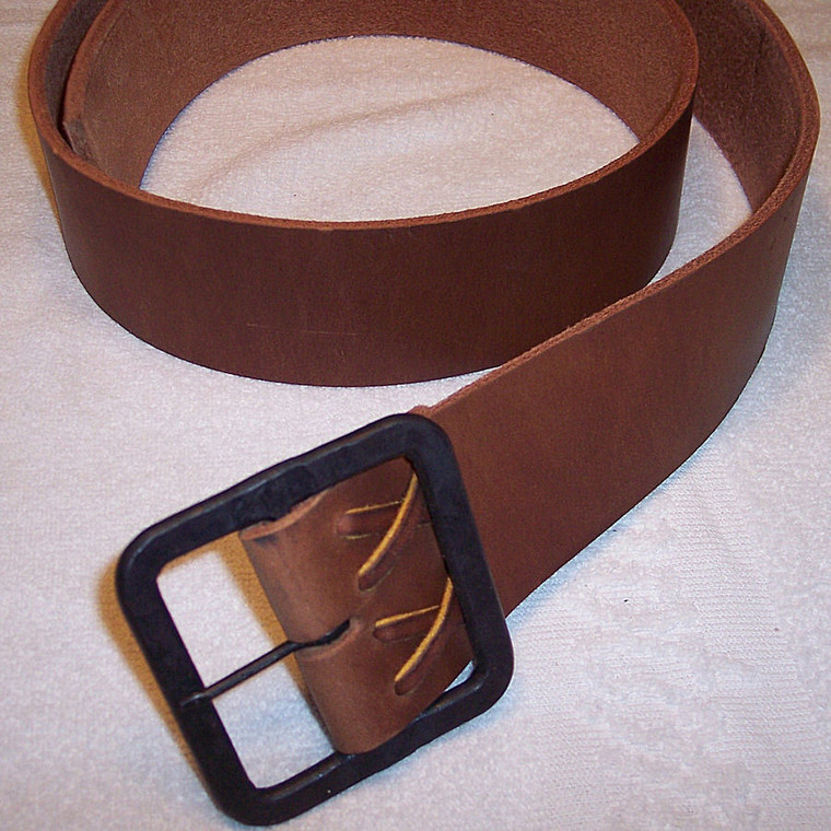 "H & B Forge Leather Belt w 2-1/2"" Square Hand Forged Buckle"
