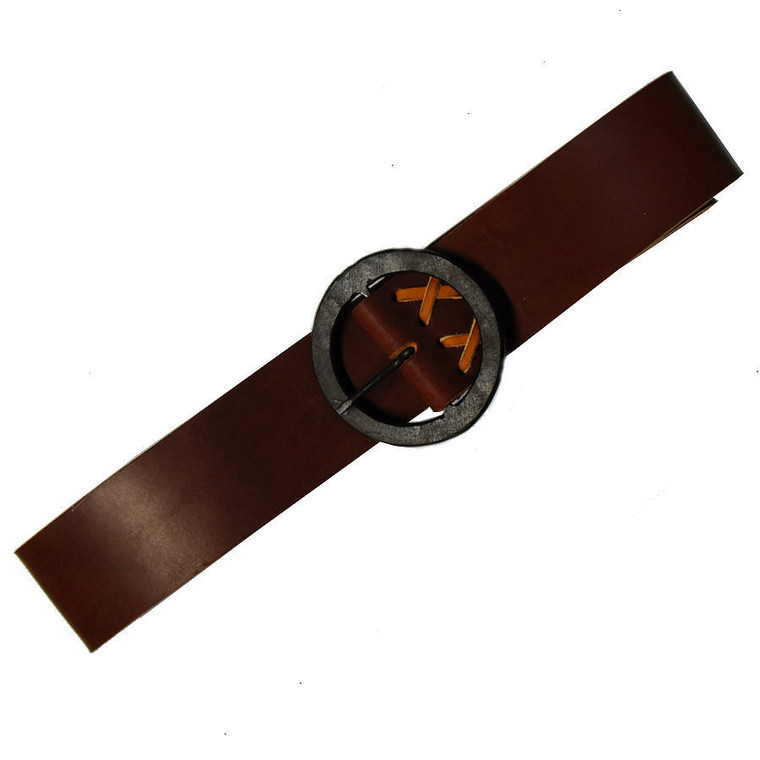 """H & B Forge Leather Belt w 3"""" Round Hand Forged Buckle"""