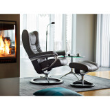 Stressless Wing Chair and Ottoman, Medium with Signature Base by Ekornes