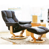 Stressless Mayfair Chair and Ottoman, Small with Classic Base by Ekornes