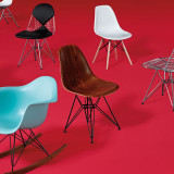 Eames Molded Wood Side Chair with Wire Base by Herman Miller