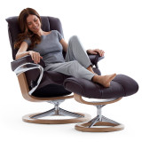 Stressless Mayfair Chair and Ottoman, Small with Signature Base by Ekornes