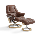 Stressless Reno Chair and Ottoman, Medium with Signature Base by Ekornes