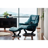 Stressless Live Chair and Ottoman, Medium with Classic Base by Ekornes