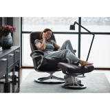 Stressless Consul Chair and Ottoman, Small with Signature Base by Ekornes