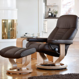 Stressless Consul Chair and Ottoman, Medium with Classic Base by Ekornes