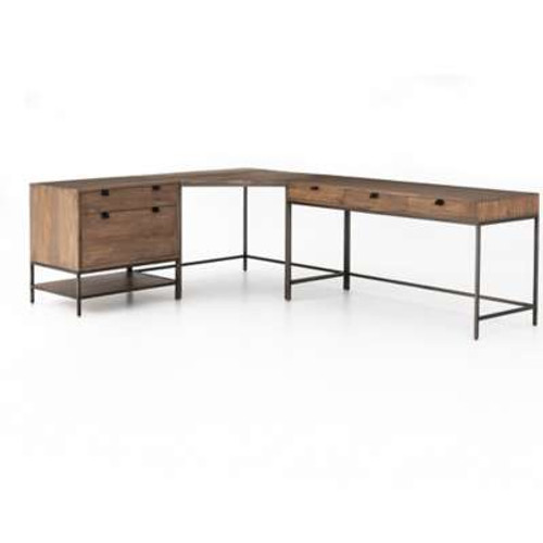 Trey Desk System With Filing Cabinet
