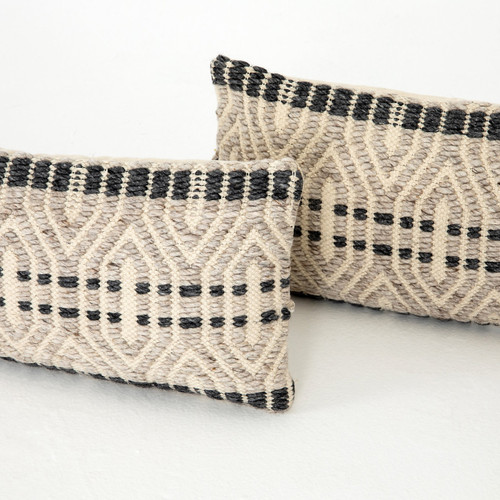 Grey Patterned Pillow, Set Of 2