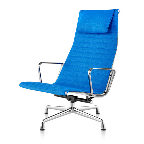 Eames Aluminum Lounge Chair with Headrest by Herman Miller, Fabric