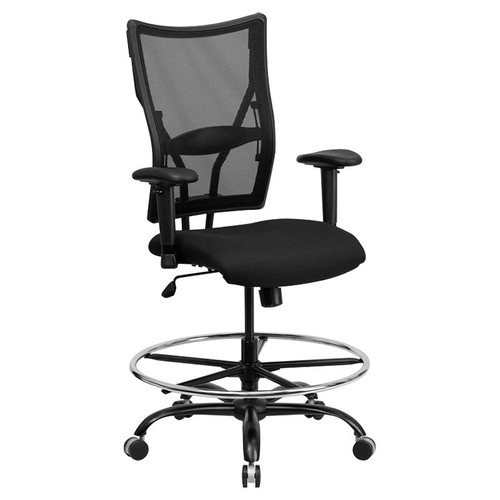 Hercules Big and Tall Black Mesh Drafting Stool with Arms