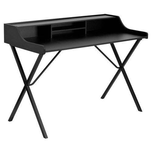 Black Computer Desk with Top Shelf