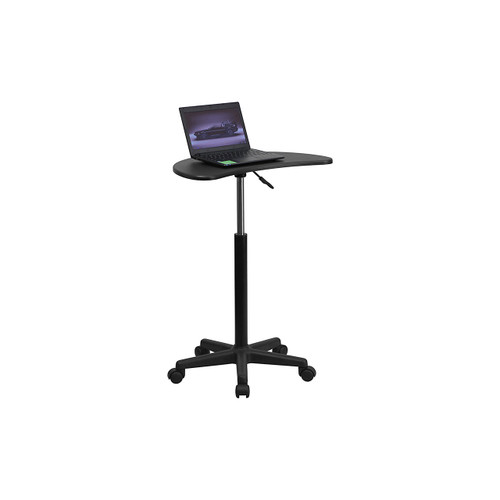 Height Adjustable Mobile Laptop Computer Desk with Black Top