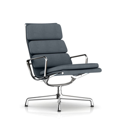 Eames Soft Pad Lounge Chair by Herman Miller, Swivel Base, Fabric