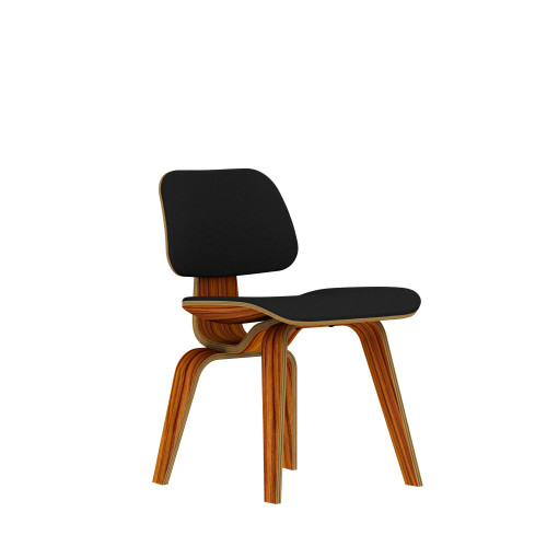 Eames Plywood Dining Chair by Herman Miller, Upholstered with Wooden Legs