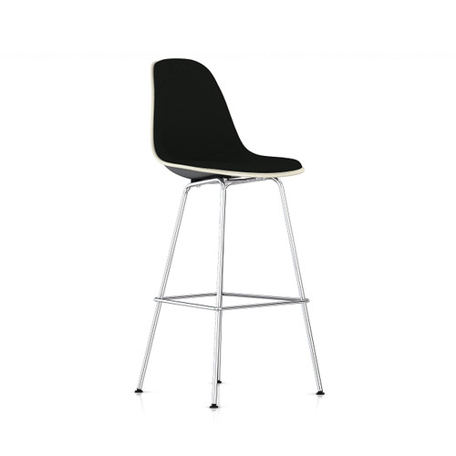 Eames Molded Fiberglass Upholstered Bar Stool by Herman Miller