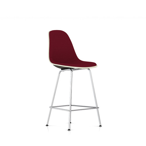 Eames Molded Fiberglass Upholstered Counter Stool by Herman Miller