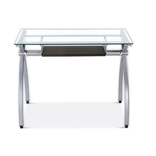 Curved Steel Desk with Glass Top