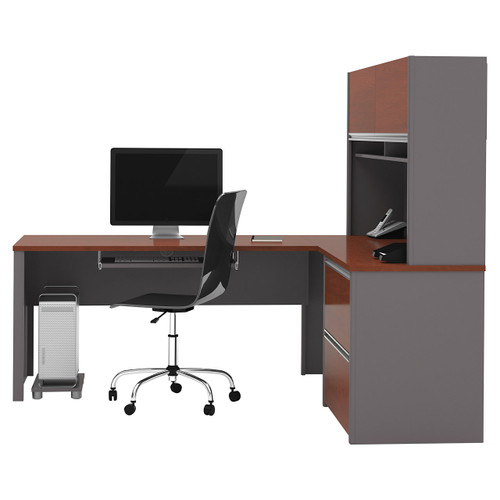 Connexion L-Shaped Workstation Kit with Hutch by Bestar