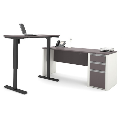 Connexion L-Desk with Electric Height Adjustable Table by Bestar