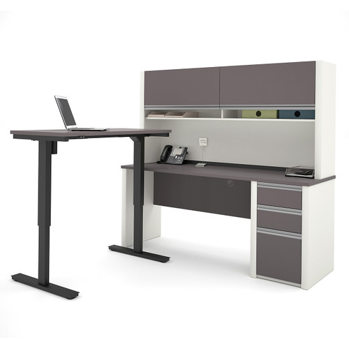 Connexion L-Desk with Hutch and Height Adjustable Table by Bestar