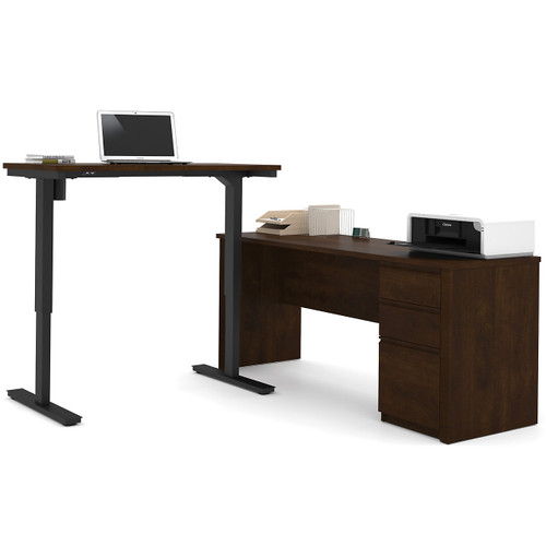 Prestige + L-Desk with Electric Height Adjustable Table by Bestar
