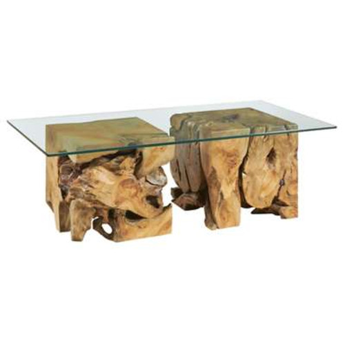 Hidden Treasures Square Root Table With Glass Top by Hammary