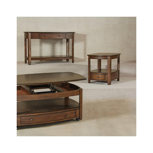 Primo Rectangular Drawer End Table in Brown by Hammary