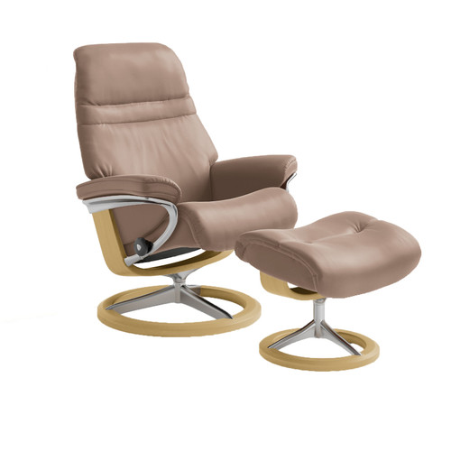Stressless Sunrise Chair and Ottoman, Large with Signature Base by Ekornes