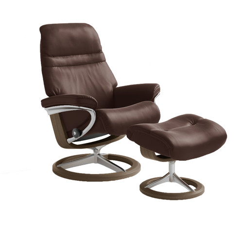 Stressless Sunrise Chair and Ottoman, Medium with Signature Base by Ekornes