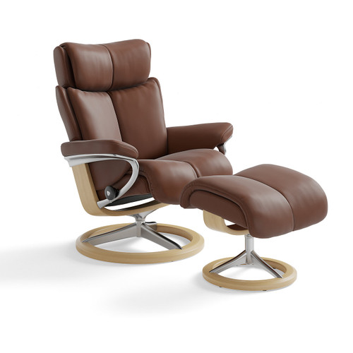 Stressless Magic Chair and Ottoman, Small with Signature Base by Ekornes