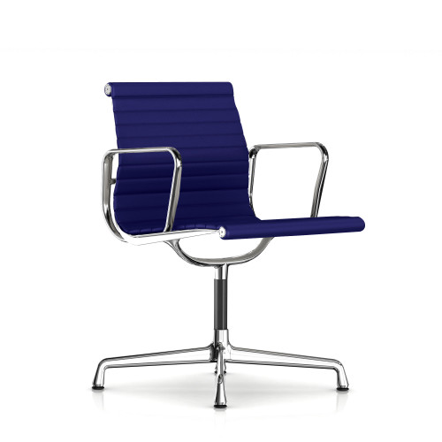 Eames Aluminum Side Chair with Arms, Fabric by Herman Miller
