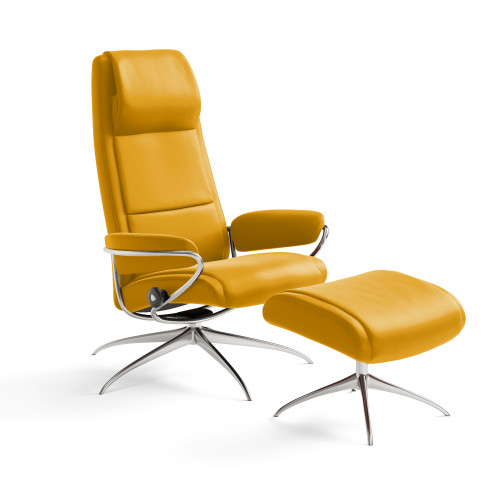 Stressless Paris High-Back Chair and Ottoman by Ekornes