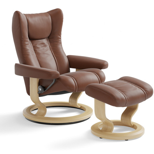 Stressless Wing Chair and Ottoman, Medium with Classic Base by Ekornes