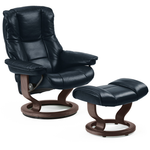 Stressless Mayfair Chair and Ottoman, Large with Classic Base by Ekornes