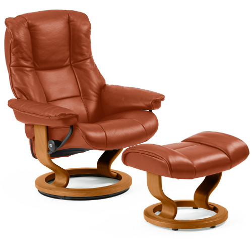 Stressless Mayfair Chair and Ottoman, Medium with Classic Base by Ekornes