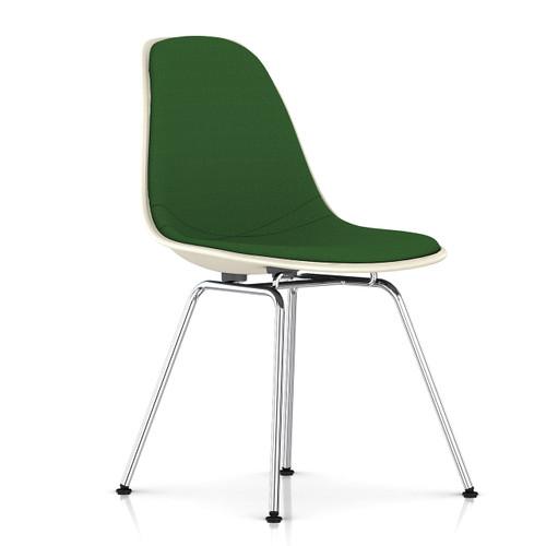 Eames Upholstered Molded Fiberglass Side Chair with 4-Leg Base by Herman Miller