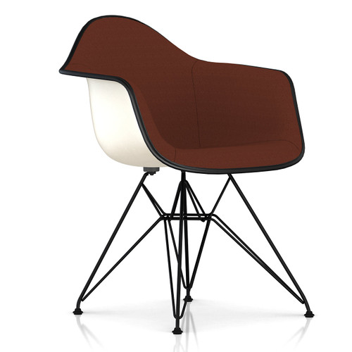 Eames Upholstered Molded Fiberglass Armchair with Wire Base by Herman Miller